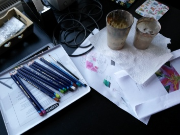 Art Materials on desk