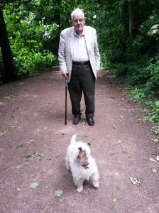 www.annedegruchy.co.uk image: dad and dog on a walk